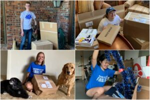 STS finalists received lots of packages from the Society. Pictured: Brendan Crotty, Sonja Michaluk, Lillian Kay Petersen and Cynthia Chen.