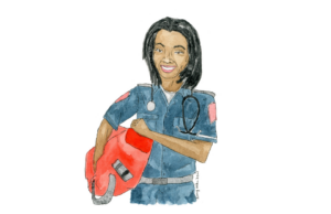 Portrait of Anaiah Thomas, who is an EMT and has assisted with CPR and delivering a baby/ Illustrated by Amy Wike