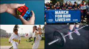 grid image of rubik's cube, march for our lives, taekwondo and weightlighting