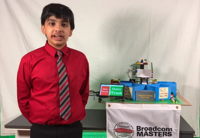 Broadcom MASTERS finalist Abhijeet Ghosh pictured with his project