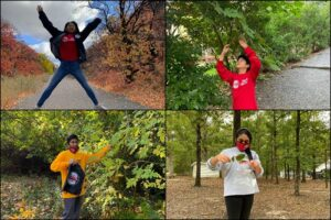 grid of four photos of students collecting leaves outdoors