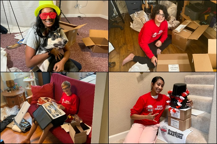 grid of four photos, students posing with packages/boxes they received
