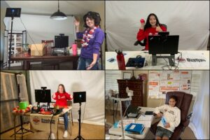 grid of four photos, students show what their home competition set-ups look like