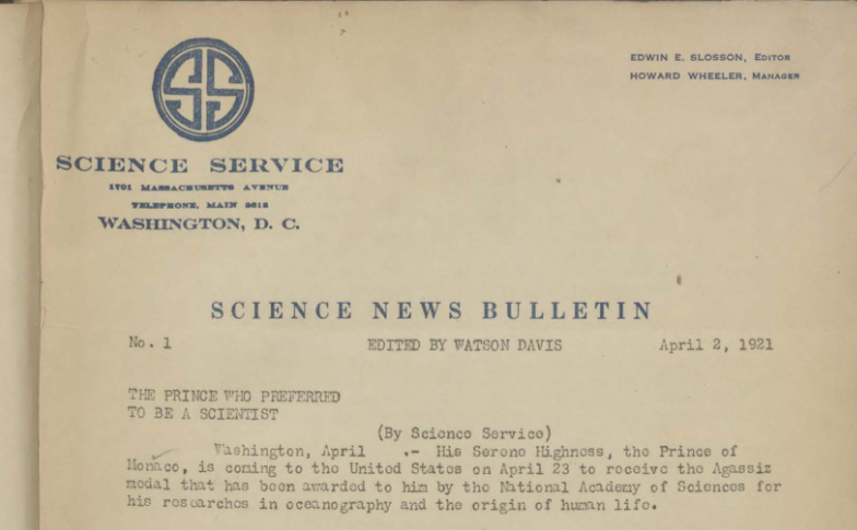 Old edition of Science News