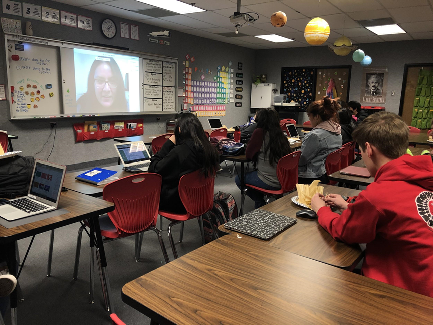 SNHS students participate in virtual lecture.