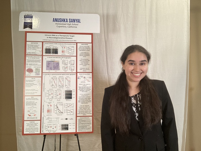 STS 2021 finalist Anushka Sanyal with project board