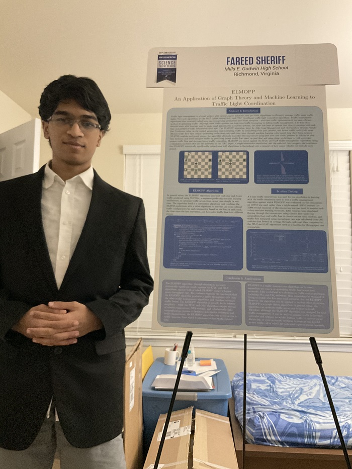 STS 2021 finalist Fareed Sheriff with project board