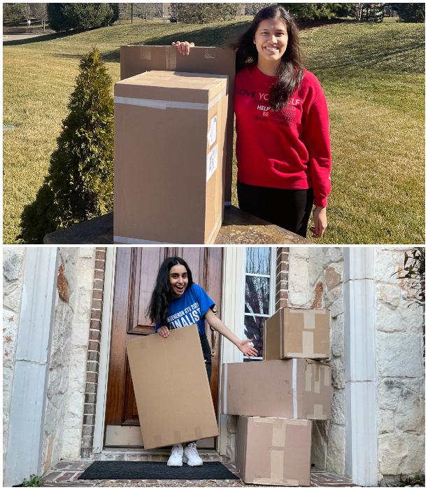 Regeneron STS 2021 finalists Laalitya Acharya and Parisa Vaziri  with boxes of equipment