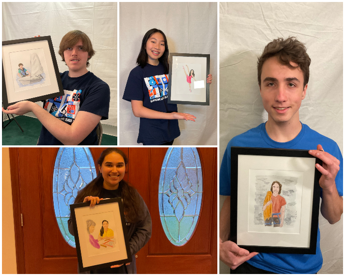 Regeneron STS 2021 finalists Michael Pavelchek, Amy Zhou, Anushka Sanyal and Andrei Mandelshtam pictured with their portraits drawn by Amy Wike