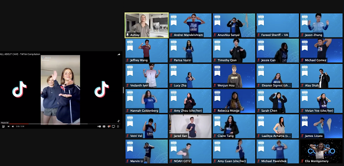 Regeneron STS 2021 tiktok dance class zoom grid