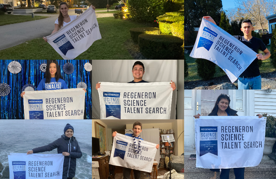 Regeneron STS 2021 finalists pictured with competition banner
